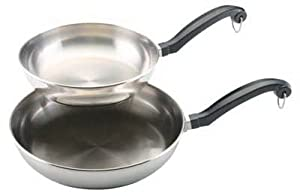 Meyer Cookware 71229 Skillet Set, Stainless Steel, 8 & 10-In.