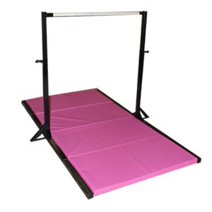 Gymnastics Mini High Bar with Pink 2-Inch Folding Mat : Gymnastics