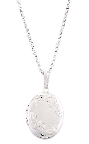 Sterling Silver Oval Carved Design Locket Necklace