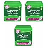 Whisper Ultra Clean - XL Wings (15 Pads) Pack Of 3