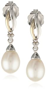 S&G Sterling Silver and 14k Yellow Gold Freshwater Cultured Pearl and Diamond Drop Earrings (0.01 cttw, I-J Color, I3 Clarity)