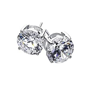Bling Jewelry Basket Set Mens Round CZ Stud Earrings 925 Sterling Silver 7mm