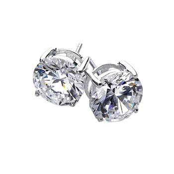 Bling Jewelry Basket Set Mens Round CZ Stud Earrings 925 Sterling Silver 6mm