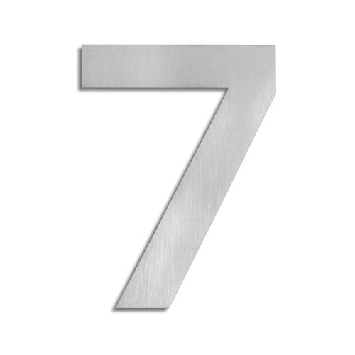 Large house number seven - brushed stainless steel