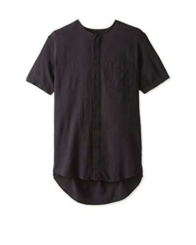 Shades of Grey Men's Collarless Button-Up Shirt  [Black]