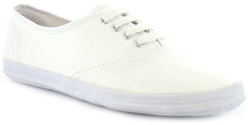 Womens/Ladies White Canvas Pumps/Shoes - White