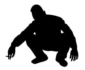 ヤンキーステッカー「うんこ座り」 黒・大 W:188mm X H:160mm (カッティングシート)