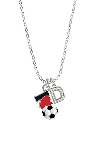 I Love Soccer - Red Heart Initial - D - Sophia Necklace