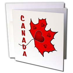 SmudgeArt Canada Art Designs - Canada - Maple Leaf - Hearts - Greeting Cards-6 Greeting Cards with envelopes