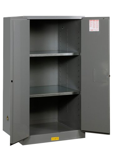Justrite 896003 Sure-Grip EX Double Walled Steel 2 Door Manual Flammables Safety Cabinet, 60 Gallon Capacity, 34