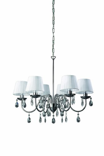 Massive 37315/11/10 Neyo White Shade  &  Crystals 5 Light Chandelier