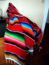 "X-Large Mexican Serape Blanket Red (82"" By 62') front-5747"