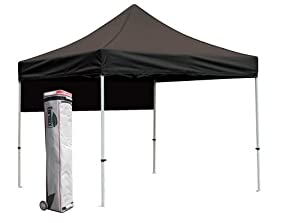 Eurmax PRO Pop up 10x10 Outdoor Canopy Gazebo Party Tent with Roller Bag Bonus Awning, Black