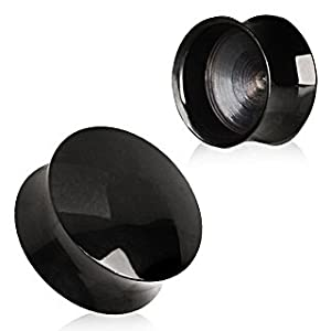 All Black Titanium Anodized Blackline Convex Hollow Saddle Plug - 5/8