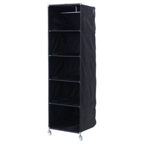 Ikea Black Clothes Organizer Wardrobe Compact On Wheels front-17810