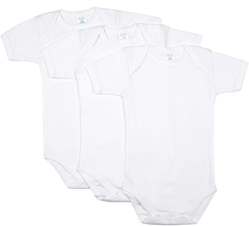 Big Oshi Baby 3 Pack Short Sleeve Bodysuit - White, 3-6 Months (White Onesies 3 Pack compare prices)