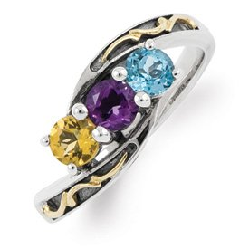 Genuine IceCarats Designer Jewelry Gift Sterling Silver & 14K Three-Stone Mother's Ring Mounting Size 8.00