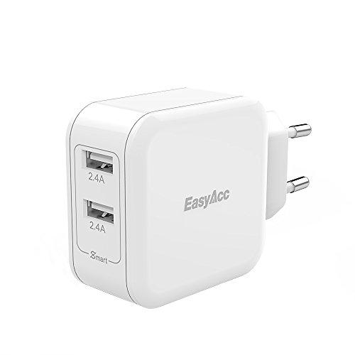 EasyAcc 24W/4.8A Double USB Chargeur Mural Voyage Mobile Adaptateur Secteur pour Smartphone et Tablettes (Prise en Blanc)