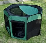 "Pawhut 46"" Deluxe Soft Sided Folding Pet Playpen / Crate - Green / Black front-418843"
