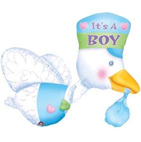 """Anagram International Stork Boy Shape Foil, 32"""", Multicolor"""