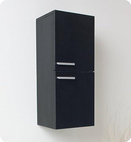 Fresca Black Bathroom Linen Side Cabinet