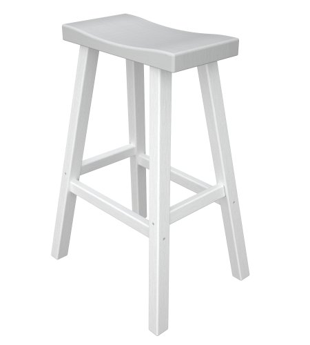 Polywood Morroco Bar Height Faux Wood Saddle Stools, Set of 2, White with Weathered White Seat