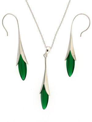 Silver Swarovski Crystal Emerald Green Crystal