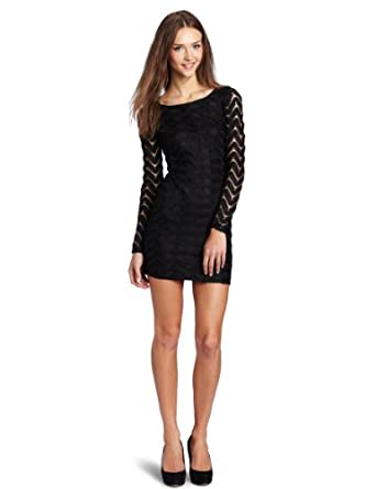 Rampage Juniors Silky Knit Dress With Exposed Zipper, Black, Small