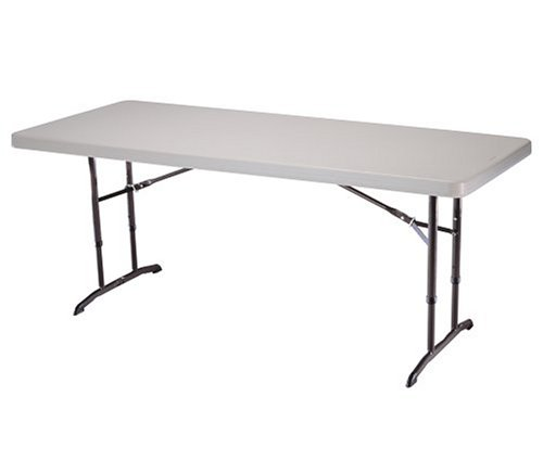 Lifetime 22920 6-Foot Adjustable Folding Table with 72-by-30-Inch Molded Top, Almond