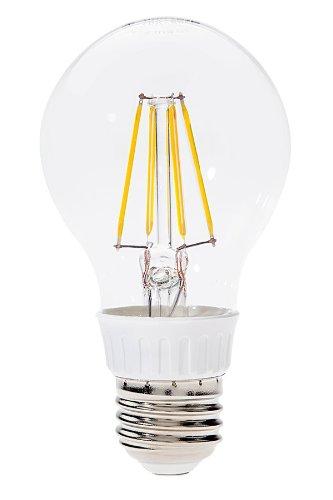 Hitlights 4 Watt Ul-Listed Filament A19 Soft White Led Bulb - 15 Year Lifespan, Replaces 40 Watt - 2700K, 450 Lumens, 110 Volts, E26