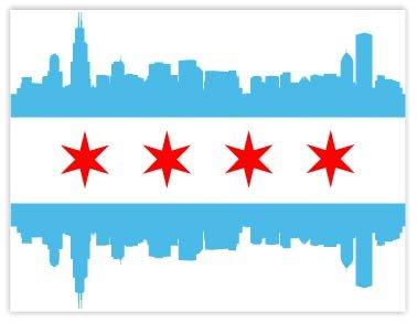 Chicago Flag Downtown 4 Quot X5 Quot Sticker Decal Vinyl Window