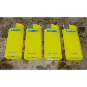 Lot of 4 Yellow Ronson Comet Refillable Lighters