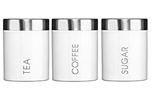 Premier Housewares Liberty Tea, Coffee and Sugar Canisters - Set of 3 - White