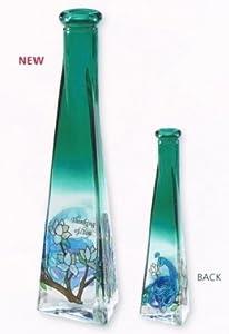 Joan Baker Peacock Stained Glass Bud Vase
