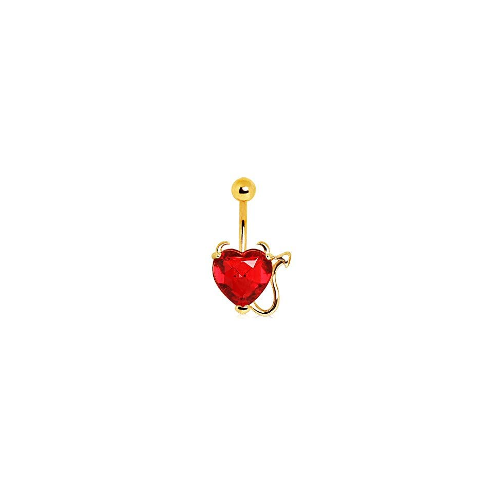 Gold Plated Devil Heart Belly Ring with Red Faceted Gem, Devil Horns and Tail   14G (1.6mm), 3/8 Length