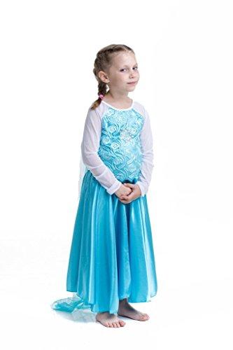 """Costume bambina """"Regina del Ghiaccio/Principessa delle Nevi"""" con strascico e ricamo a spirale - Blu - Tg. 140 (134-140)"""