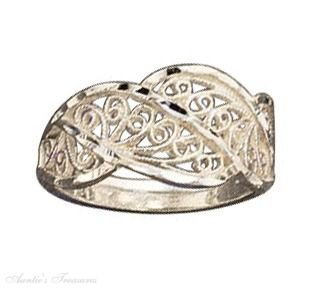 Sterling Silver Filigree Wave Ring Size 6