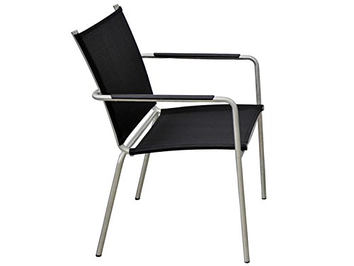 SEVILLA Garten Stuhl Sit Mobilia Edelstahl Textilene Schwarz günstig online kaufen