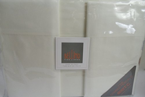Bellino Fine Italian Linens 4pc Queen Sheet Set IVORY 100% Egyptian Cotton PERCALE 600 Thread Count Made in Italy (Bellino Sheets compare prices)