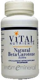 Natural Beta Carotene 25000 IU 90 Capsules by Vital Nutrients