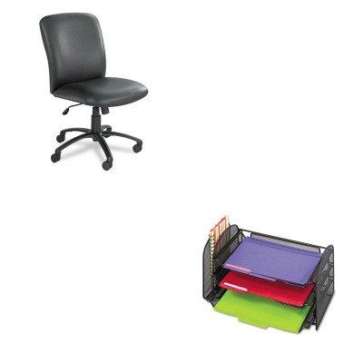 Kitsaf3265Blsaf3490Bv - Value Kit - Safco Uber Series Big Amp;Amp; Tall Swivel/Tilt High Back Chair (Saf3490Bv) And Safco Mesh Desk Organizer (Saf3265Bl) front-800190