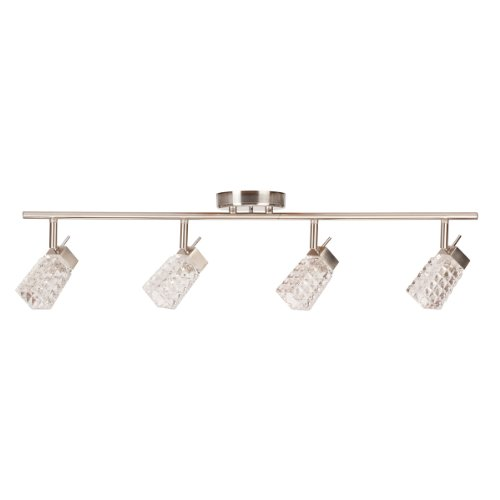 Globe Electric 58525 Lux Collection 4 Light Track Light Fixture, Brushed Steel