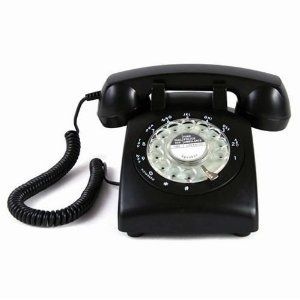 Glodeals Black 1960's Style Rotary Dial Home Telephone Old-Fashioned Telephone picture