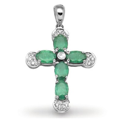 Jewelco London 18 Carat White Gold Diamond-7pt Emerald-1.86ct Cross