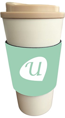 """Rikki Knight Letter """"U"""" Initials Hemlock Green Color Petal Leaves Design Latte and Iced Coffee Drinks Cooler Beverage Insulator Neoprene Huggers sized to fit Latte and Iced Coffee Cups"""