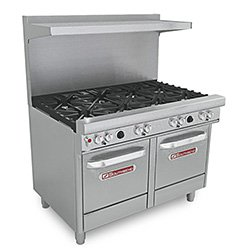 """Southbend 4481Ee Commercial Gas Range - 48""""W, 8 Burners, 2 Space Saver Ovens"""