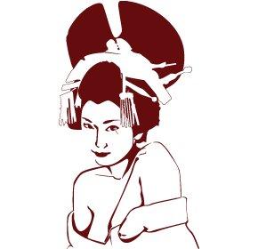 Casa decorazione giapponese timida signora, adesivi in vinile, H = 50cm, W = 50cm