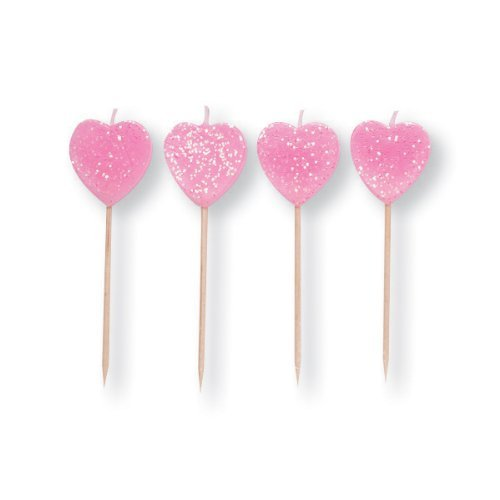 Valentines Day Pink Glittery Hearts Pick Candles x 10
