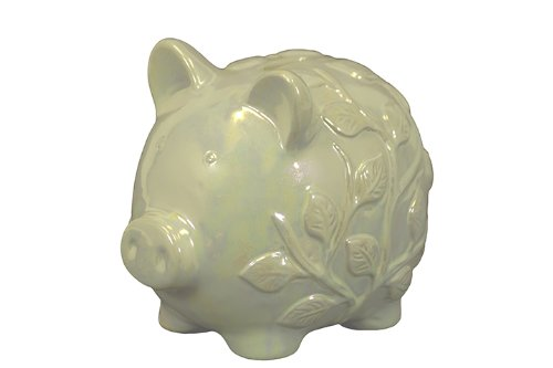 UTC 27036 Pearl Ceramic Piggy Bank with Ivy Finish