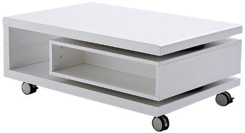 Robas Lund Couchtisch Wohnzimmertisch Angela Hochglanz weiß 90(120) x 60 x 36 cm 58104W1